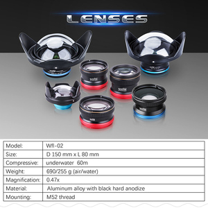 Image 5 - Weefine WFL02 fisheye wide angle lens M52 24mm thread for TG4 TG5 camera Housing case Underwater