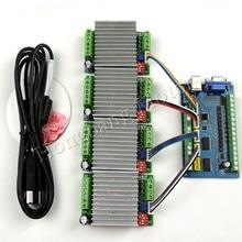 MACH3 USB CNC 5 Axis 100KHz Smooth Stepper Motion Control card breakout board+4PCS TB6600 1 Axis 4.5A Stepper Motor Driver board