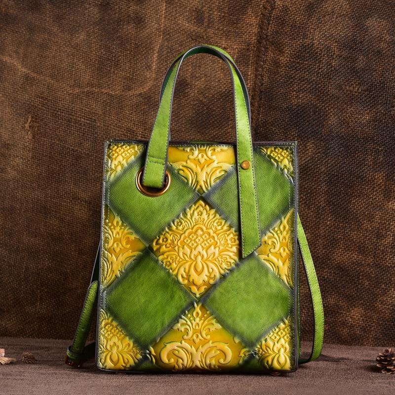 Authentic Leather Women's Bag, Retro Women's Bag, Large-capacity Embossed Women's Bag, Hand-held Oblique-span Bucket