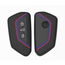 Silicone Smart Key Case Holder Cover for VW Volkswagen Golf 8 Mk8 for Skoda Octavia 8 VAG Group for Seat Leon 2020 2021 Keychain