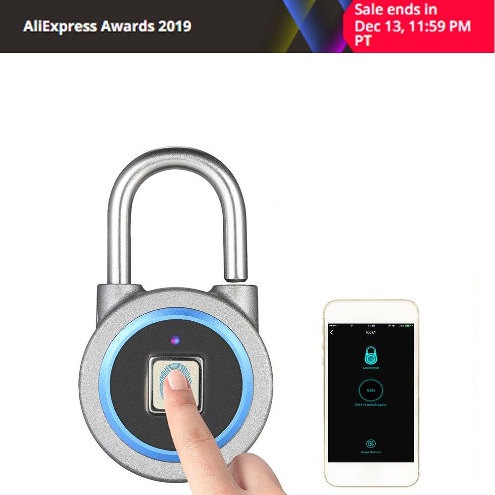 Fipilock Smart Keyless Fingerprint Lock Waterproof APP / Fingerprint Unlock Anti-Theft Security Padlock Door Luggage Case Lock