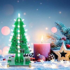 Электронный паяльный набор для рождественской елки DIY, Обучающий набор для пайки на Рождество, 7 цветов, мигающий светодиодный припой для пе...