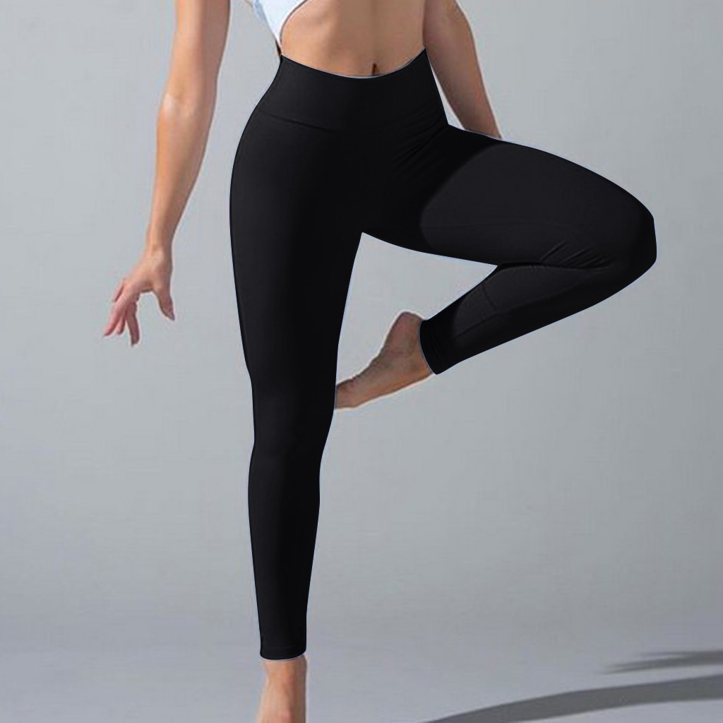 Women Soft High Waist Solid Color Stretch Pleated Pants Casual Fitness Leggings Trouser Leggings Workout 2019