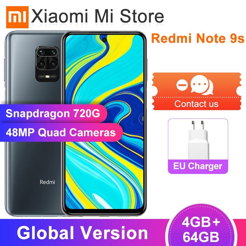 """In Stock Global Version Xiaomi Redmi Note 9S 9 S 4GB 64GB Smartphone Snapdragon 720G Octa Core 48MP AI Quad Camera 5020mAh 6.67""""(China)"""