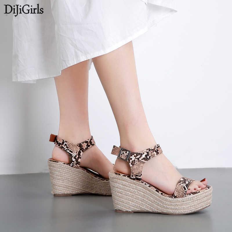 Snake Print Sandals High Heels Summer