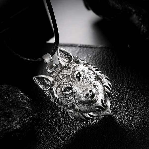 Tibetan Silver Wolf Head Pendant Necklace Amulet Animal Viking Men Gift Jewelry