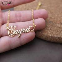 Plaque signalétique collier nom personnalisé collier femmes en acier inoxydable bijoux faits à la main Couple princesse cadeau or Cursive couronne collier