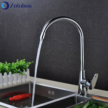 Kitchen Faucet Taps Sink Deck-Mounted-Mixer Rotation Copper Hot-Water Cold Single-Hole