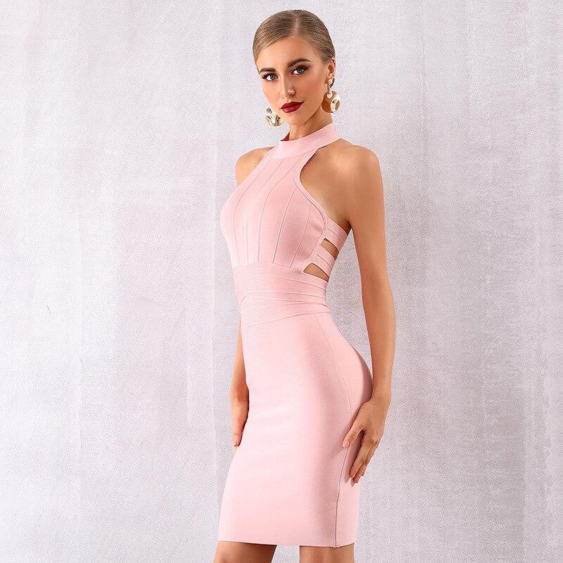 Nouveau Style élégant rose Sexy évider dos nu robe de Club robe de fête de célébrité