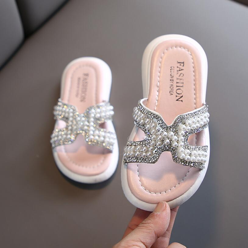 Girls Slippers Kids Shoes Summer Bow Slippers Outdoor Children Beach Shoes Baby Toddler Sandal Flat Outdoor Flip Flop