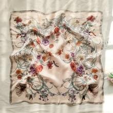 70 * 70ins Spring Summer Scarf Small Square Scarf Female Korean Artistic Decorative Flower Neckerchief Scarf women