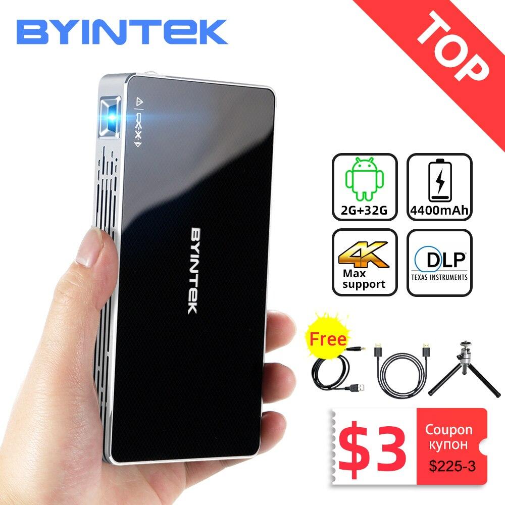 BYINTEK Р10 смарт Андроид WiFi карманный мини Пико Портативный проектор светодиодный проектор DLP лазерный проектор 1080p для Андроид смартфонов с ра...