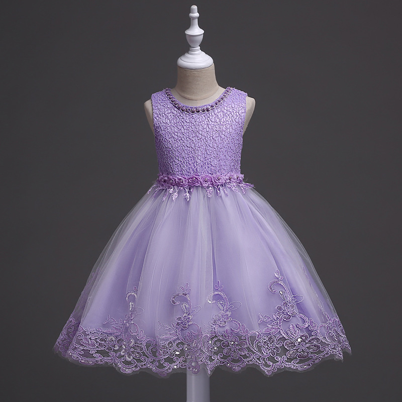 Summer Lace Princess Dress GIRL'S Gown Children Tutu Wedding Dress Baby Performance Dance Skirt Flower CHILDREN'S Dress