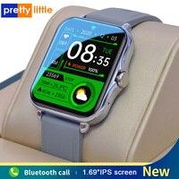 Smart Uhr Männer Frauen Bluetooth Anruf Wasserdicht Musik Steuer Fitness Tracker Q-8 1,69 Zoll Bildschirm Smartwatch Für Android IOS