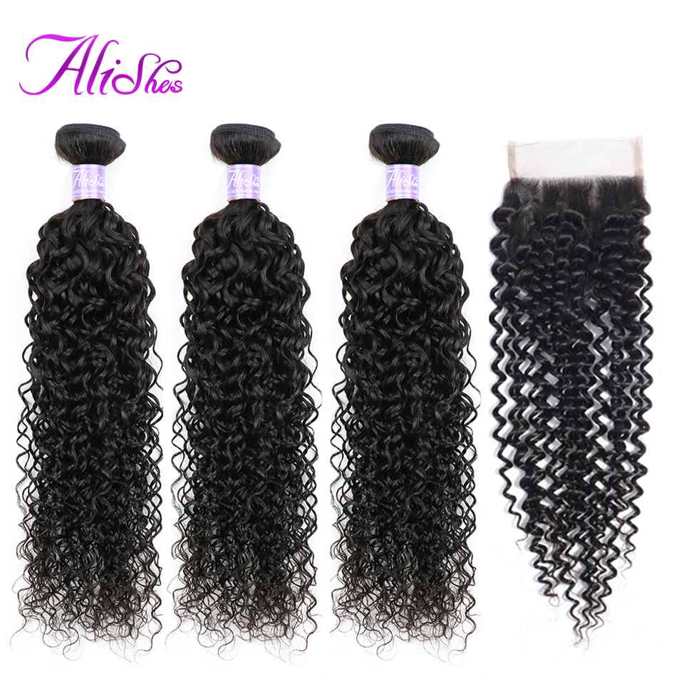 Alishes Hair Malaysian Curly Hair Bundles With Closure 100% Human Hair Weave 3 Bundles With Closure Remy Hair Bundle Deals