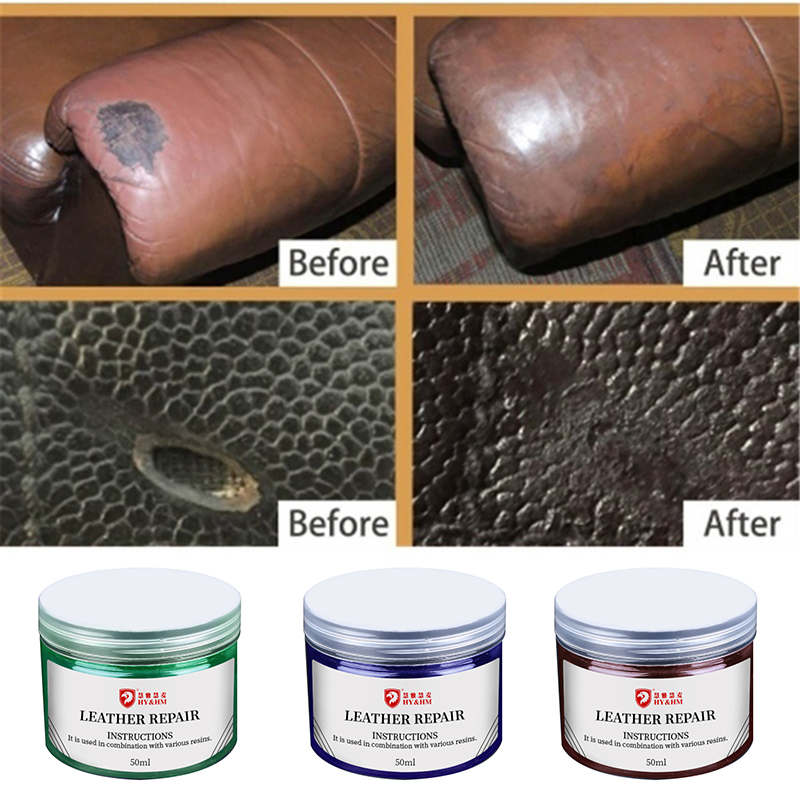 50ML Leather Repair Cream Leather Vinyl Repair Auto Car Seat Sofa Coats Holes Scratch Cracks Rips Liquid Leather Repair Tool