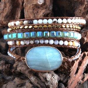 Image 2 - Bracelet en perles Boho, à la mode, fait à la main, pierres naturelles mélangées et pierres de cristal, charme, 5 bandes, cadeau pour femmes Bracelets denveloppement, collection livraison directe