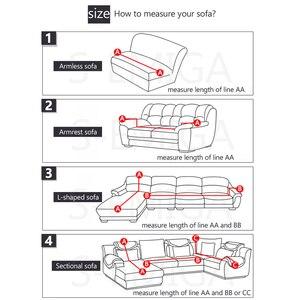 Image 3 - Housse de canapé dangle imprimée et élastique, lot de 2 pièces extensibles en L pour salon, 1/2/3/4 sièges