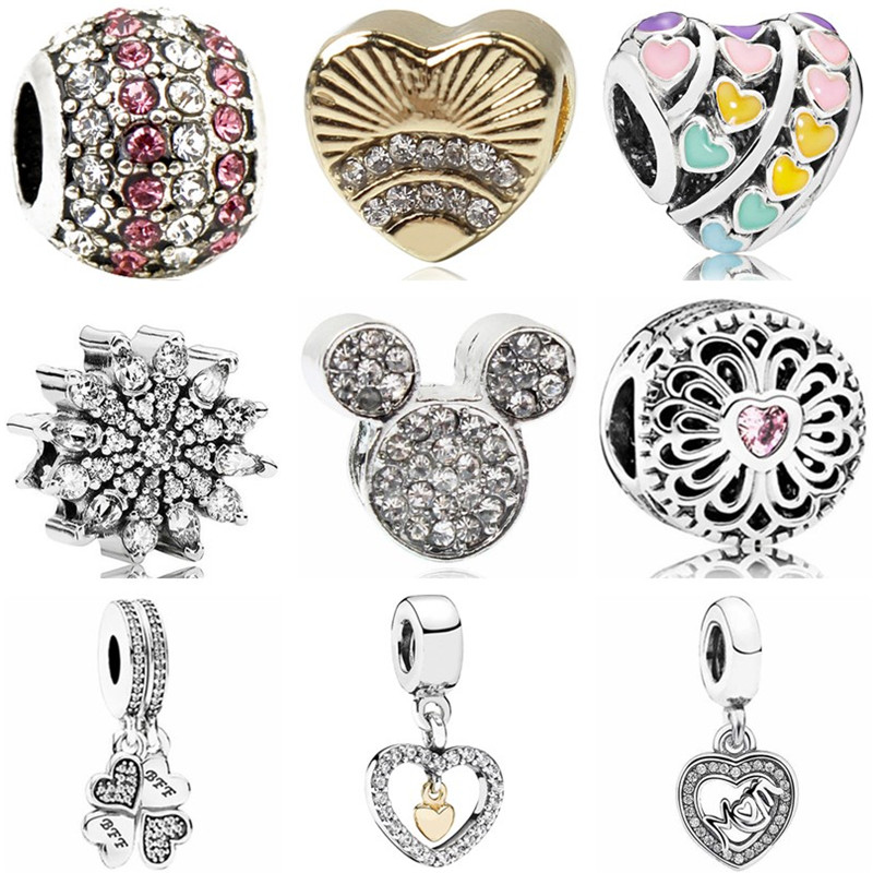 Mickey Beads Jewelry Charms Doll-Leaves Boat Snowflake Crystal Fit Pandora Christmas-Gifts