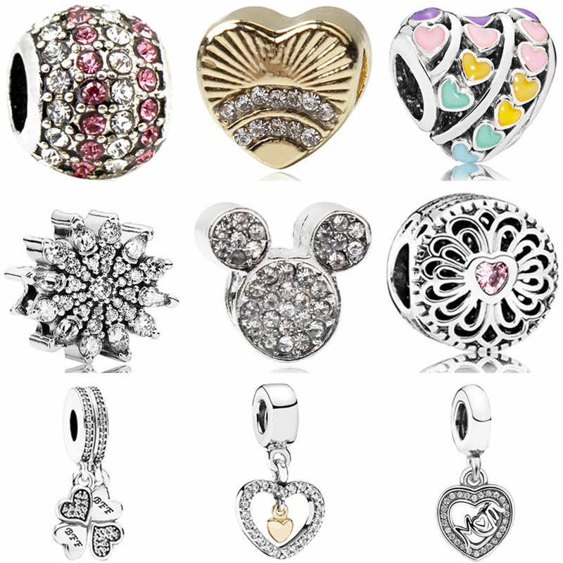 High Quality Crystal Snowflake Hat Boat Doll Leaves Mickey Beads Fit Pandora Charms for Women Handmade Jewelry Christmas Gifts