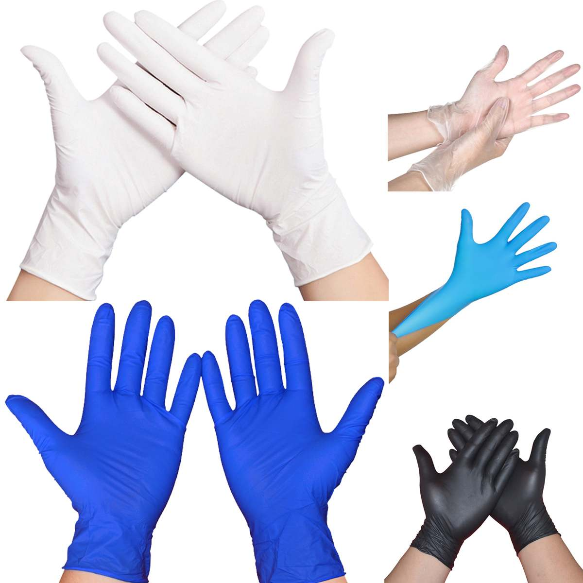 100Pcs Disposable Latex Gloves XL Safety Nitrile Gloves Non-Slip Protection Laboratory Household Cleaning Rubber Latex Gloves