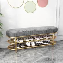Nordic Licht Luxus Eisen Schuhe Hocker Haushalt Eingang Weiche Tasche Kissen Schuh Schrank Eingang Kreative Schuhe Hocker
