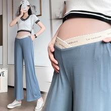 Maternity Flare Bottoms Pants Summer Soft  Adjustable Low Waist Loose Pregnancy Clothes Pants Viscose Filament Maternity Pants
