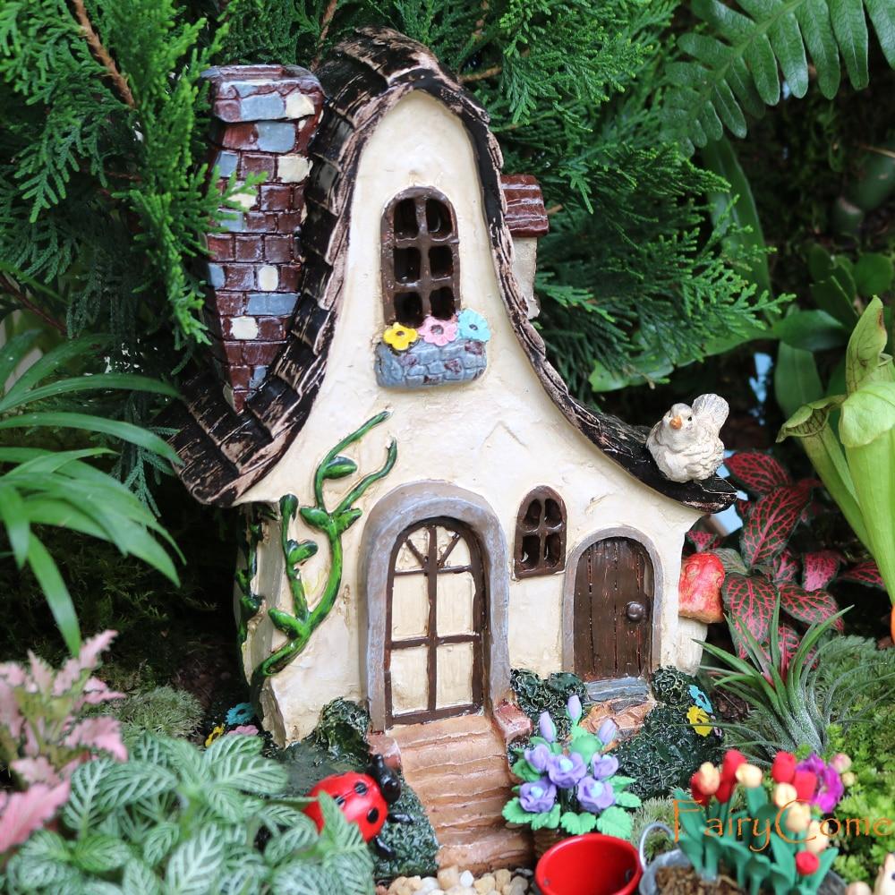 Сказочный Дом, большая деревенская миниатюрная садовая вилла, коттедж из смолы, сказочный садовый декор, миниатюрная лесная Гном-хижина, до...