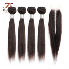 BOBBI COLLECTION 4/6 Bundles with Closure 50g/pc 2*6 Long Lace Indian Straight Non-Remy Human Hair Short Bob Style