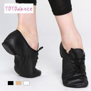 Image 1 - Женские туфли оксфорды из свиной кожи, черные, коричневые танцевальные туфли со шнуровкой для детей и взрослых, танцевальная обувь для джаза