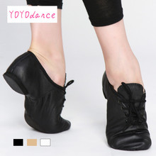 Black Tan Lace Up Geniune Pig Leather Jazz Shoes From Children To Adult Quality Oxford Dance Shose Women  Dance Shoes Jazz