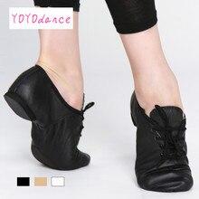 Siyah Tan Lace Up hakiki domuz deri caz ayakkabı çocuk yetişkin kalite Oxford dans ayakkabıları kadın dans ayakkabıları caz