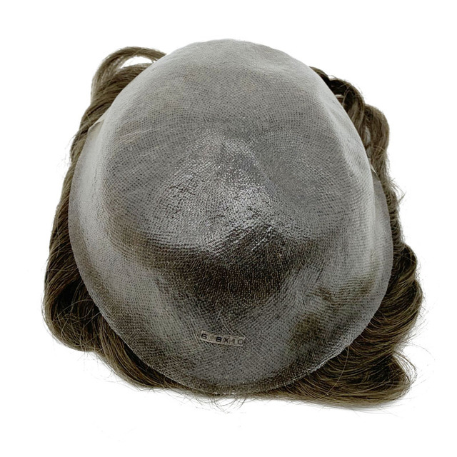Super Thin Skin Men Toupee strong Knot Hair Replacement Undetectable Front Hair Line Fast Shipping