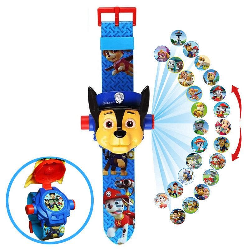 Paw Patrol Party Digital Watch Projection 24 Style Cartoon Patterns Time Clock Action Patrulla Canina Toy Children Birthday Gift