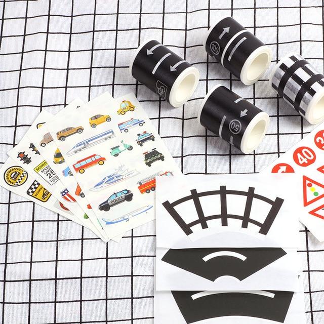5m Railway Road Traffic Tape Washi Tape Sticker DIY Road Traffic Road Adhesive Masking Tape Car Stickers For Kids Toy Car Train 5