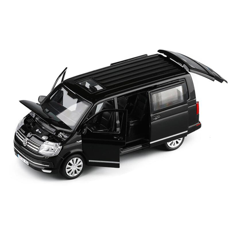Zhenwei 1:32  Alloy Toy Car Diecast Alloy Bus Volkswagen Multivan T6 Van Model Sound Light Pull Back MPV Boys Toys For Children