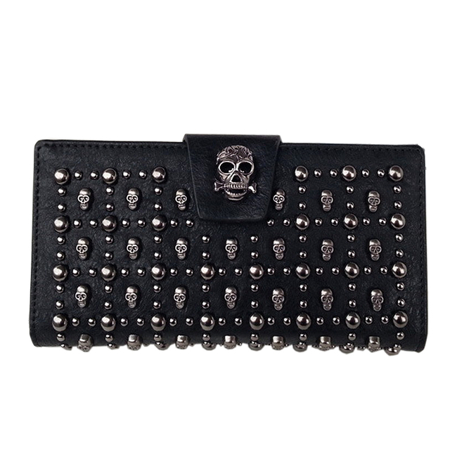 SKULL BUCKLE PU LEATHER WALLET