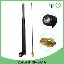 лучшая цена 5pcs 2.4 GHz Antenna wifi 5dBi WiFi Aerial RP-SMA Male 2.4ghz antena wi fi Router+21cm PCI U.FL IPX to RP SMA Male Pigtail Cable
