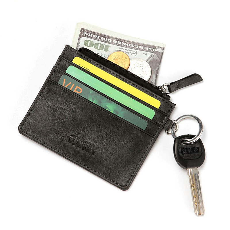Fashion Mini Women Card Holder Bank Card Package Coin Bag Travel Leather Men ID Credit Card Holders Cover Zipper Keychain Wallet