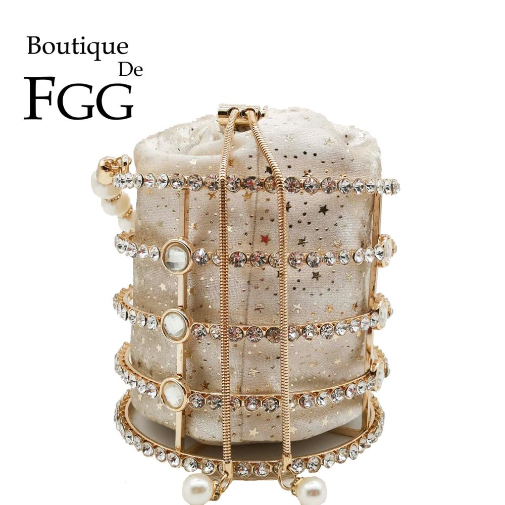 Boutique De FGG Pearl Top-Handle Women Totes Bag Gold Bucket Bags Metal Clutches Crystal Evening Purses Wedding Bridal Handbags