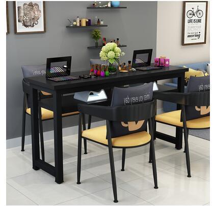 Маникюрный Стол и стул набор простой современный двойной черный маникюрный магазин стол специальная цена ретро Маникюрный Стол одиночный - Цвет: 160 cm4 chairs