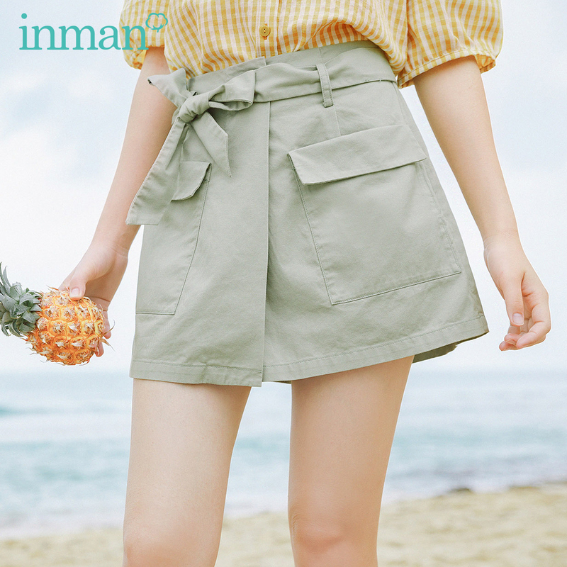 INMAN 2020 Summer New Arriavl Pure Cotton High Waist Bowknot Leisure Short Pant