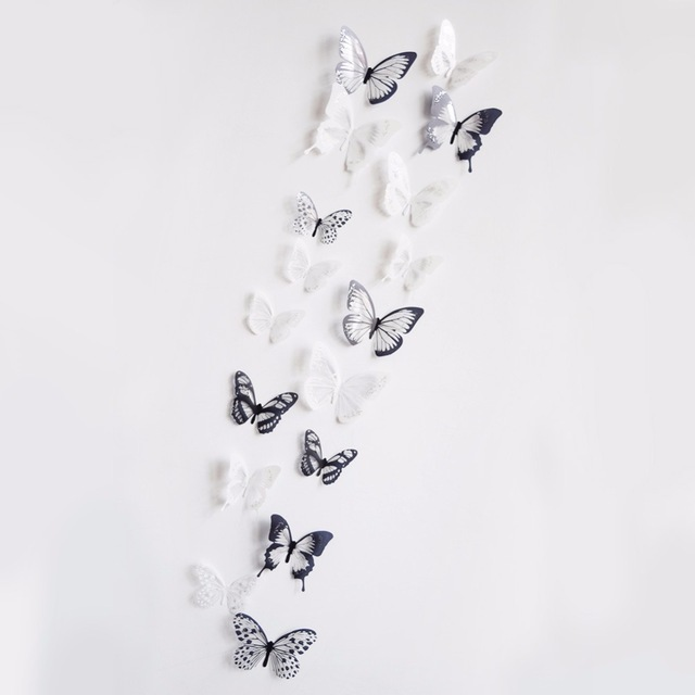 18pcs/lot 3DEffect Crystal Butterflies Wall Sticker Beautiful Butterfly for Kids Room Wall Decals Home Decoration On the Wall
