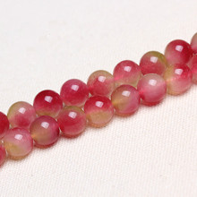 Natural crystal watermelon DIY accessories Semi-finished beaded  tourmaline chalcedony