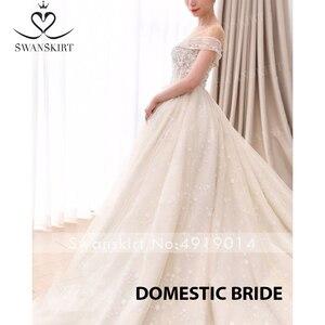 Image 5 - Милая принцесса бальное платье свадебное платье 2020 Swanskirt с открытыми плечами бисер длинный шлейф Свадебная Иллюзия Vestido de noiva F305