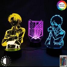 Anime Attack on Titan Figure Night Light Kid Gift Bedroom Decor Eren Jager Mikasa Ackerman Levi Manga Figurine Led 3d Table Lamp