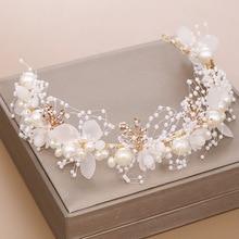 Luxurious Gold Pearl Rhinestone Hair Jewelry For Women Handmade Tiara Bridal Hair Bands Wedding Hair Accessories Gift Headpieces