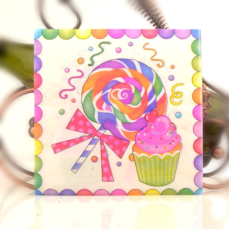 Lollipop Printed Napkin Color Kleenex Birthday Wedding Restaurant Hotel Paper Napkin Banquet Cup Stained Paper