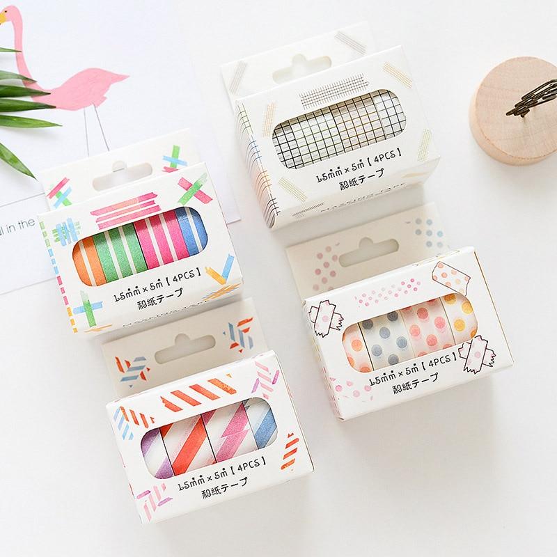 4Pcs/Set Grid Striped Washi Tape Kawaii Decorative Japanese Tape Cute Dots Masking Tape For Sticker Scrapbooking Stationery Tape
