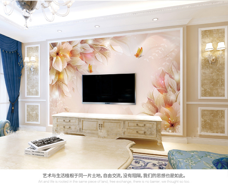5D Stereo Bump Simple European Style Living Room 8D TV Backdrop Wallpaper 3D Film And Television Wallpaper Mural Flower Wall